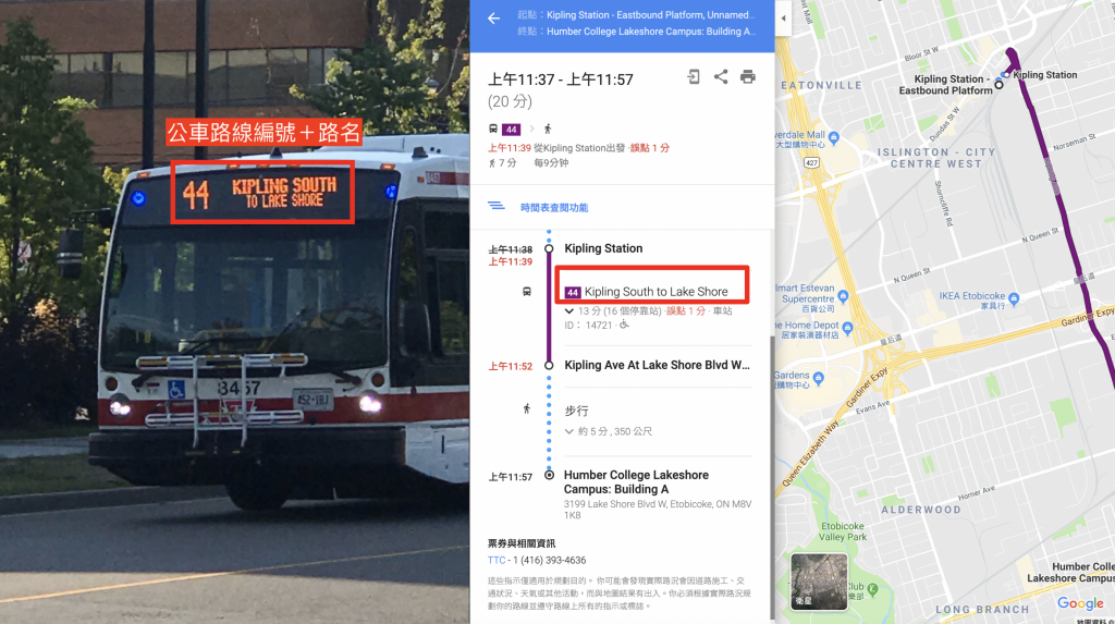 bus and google map